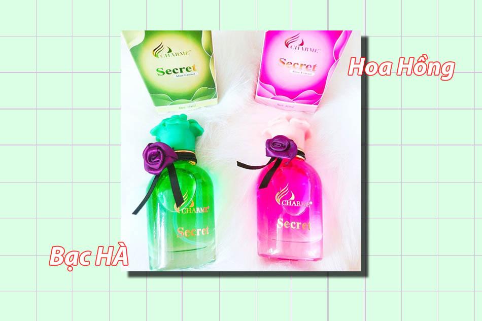 sử dụng nước hoa vùng kín Charme Secret hương hoa hồng và hương bạc hà